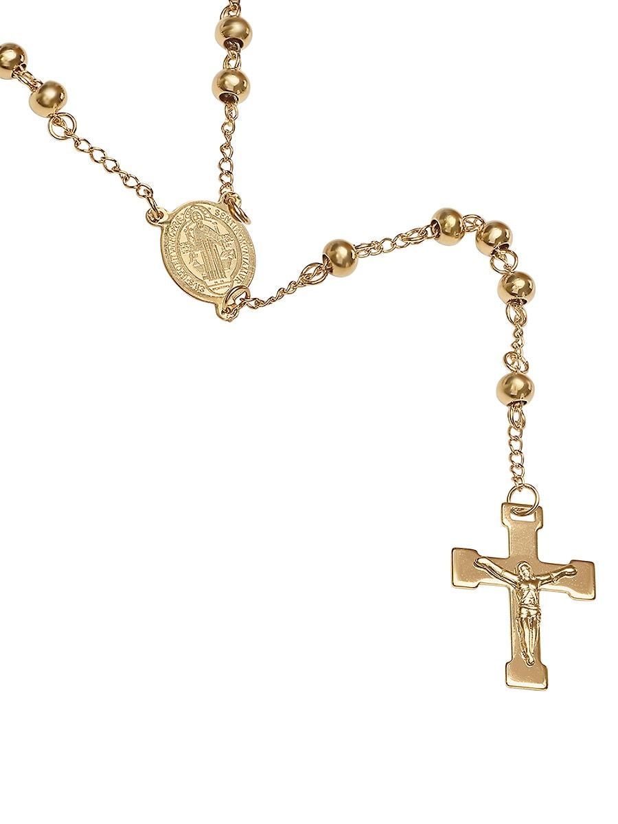 Men's 18K Goldplated Stainless Steel Beaded Rosary Necklace