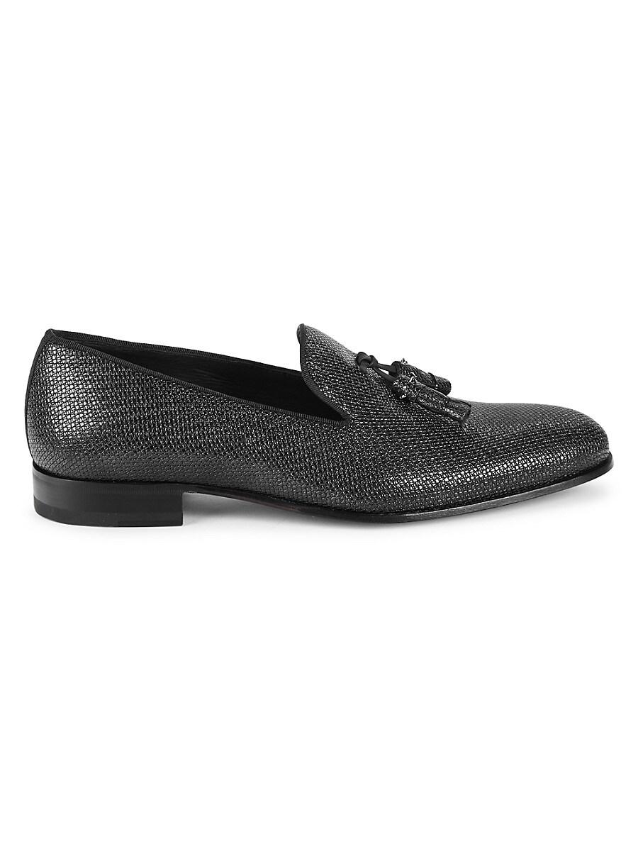 Men's Iguana-Embossed Leather Tassel Loafers