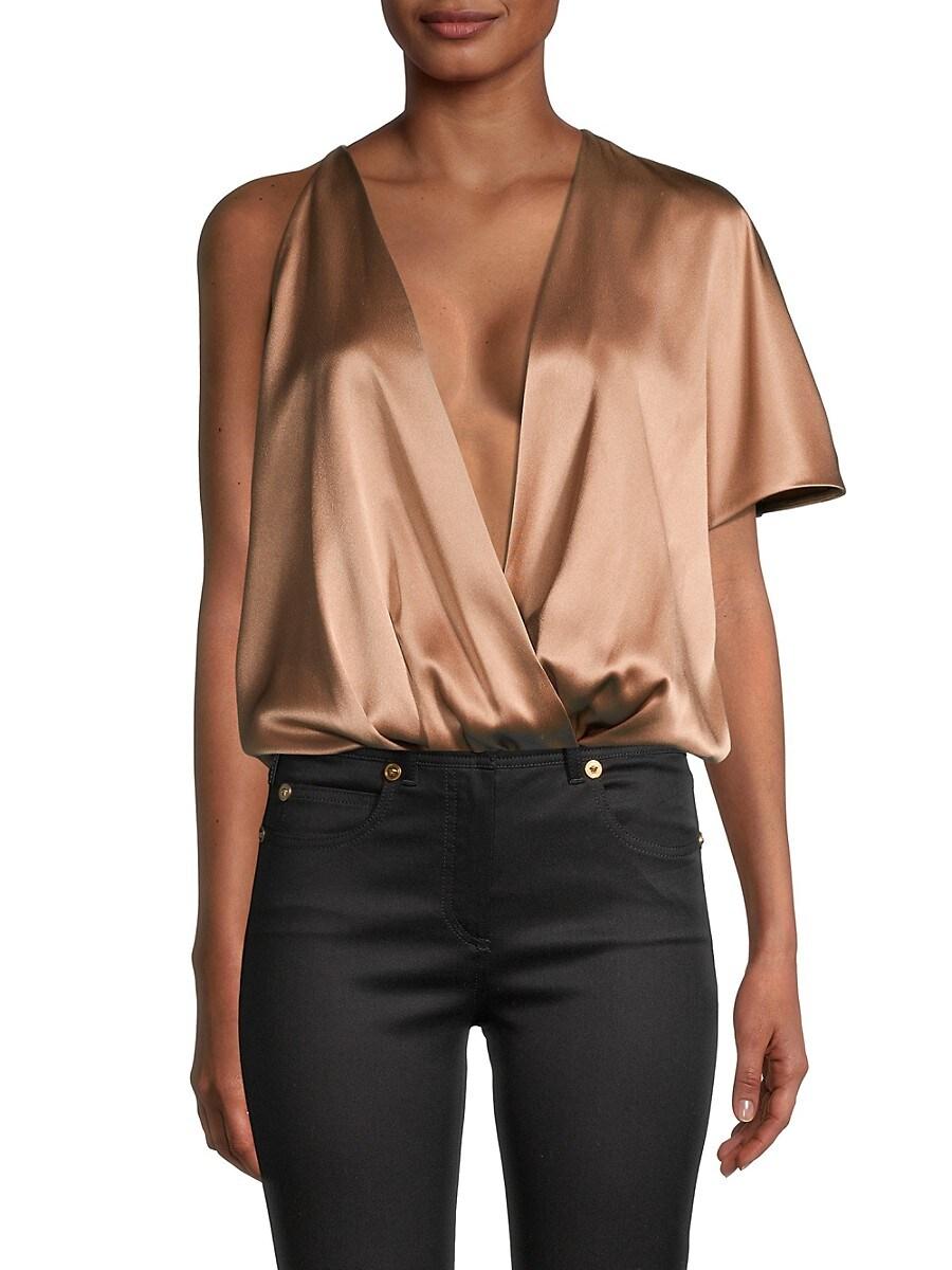 Cushnie Women's Plunging Blouson Bodysuit - Camel - Size L