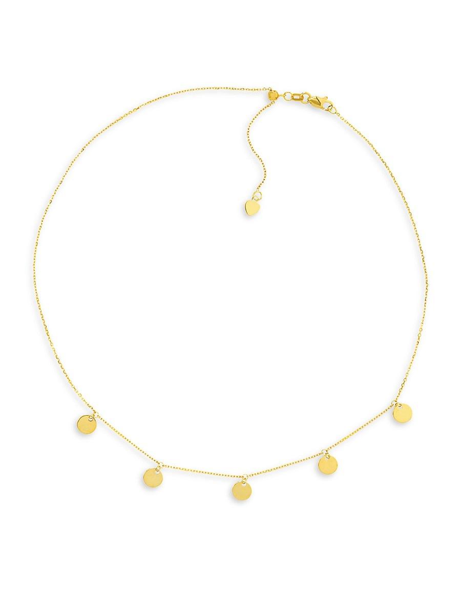 Women's 14K Yellow Gold Mini Five Disc Choker Necklace