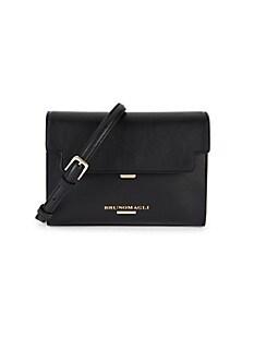 브루노 말리 시계 Bruno Magli Chain Flap Leather Crossbody Bag,BLACK