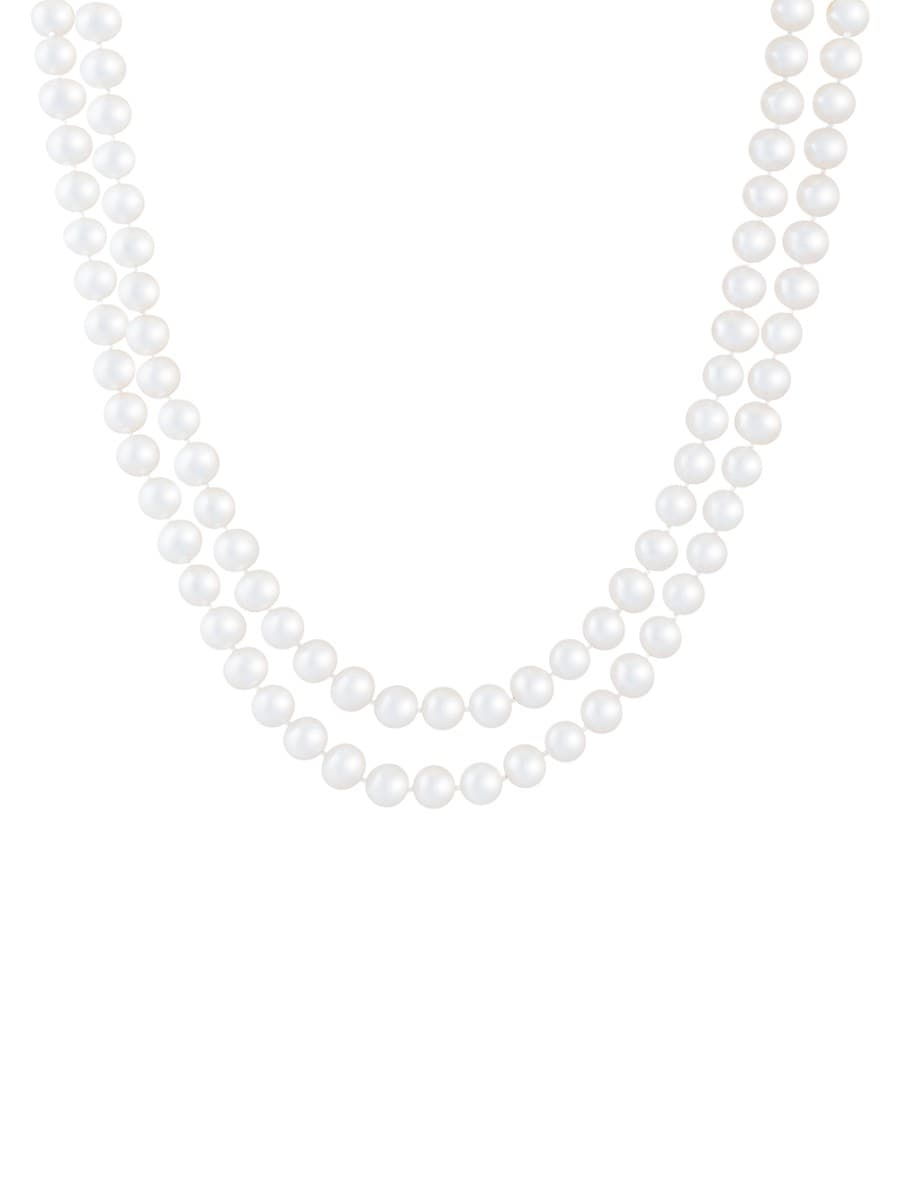 Women's 14K Yellow Gold & Double Row 7MM-8MM Akoya Pearl Necklace
