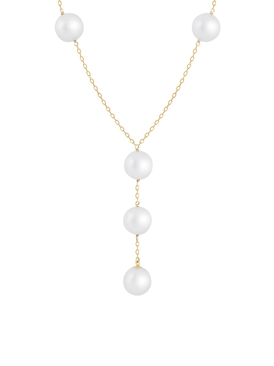Women's 14K Yellow Gold & 10-11MM Freshwater Pearl Station Necklace/18