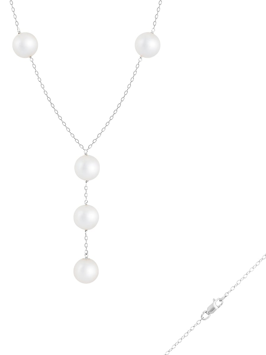 Women's 14K White Gold & 10-11MM Freshwater Pearl Station Y-Necklace