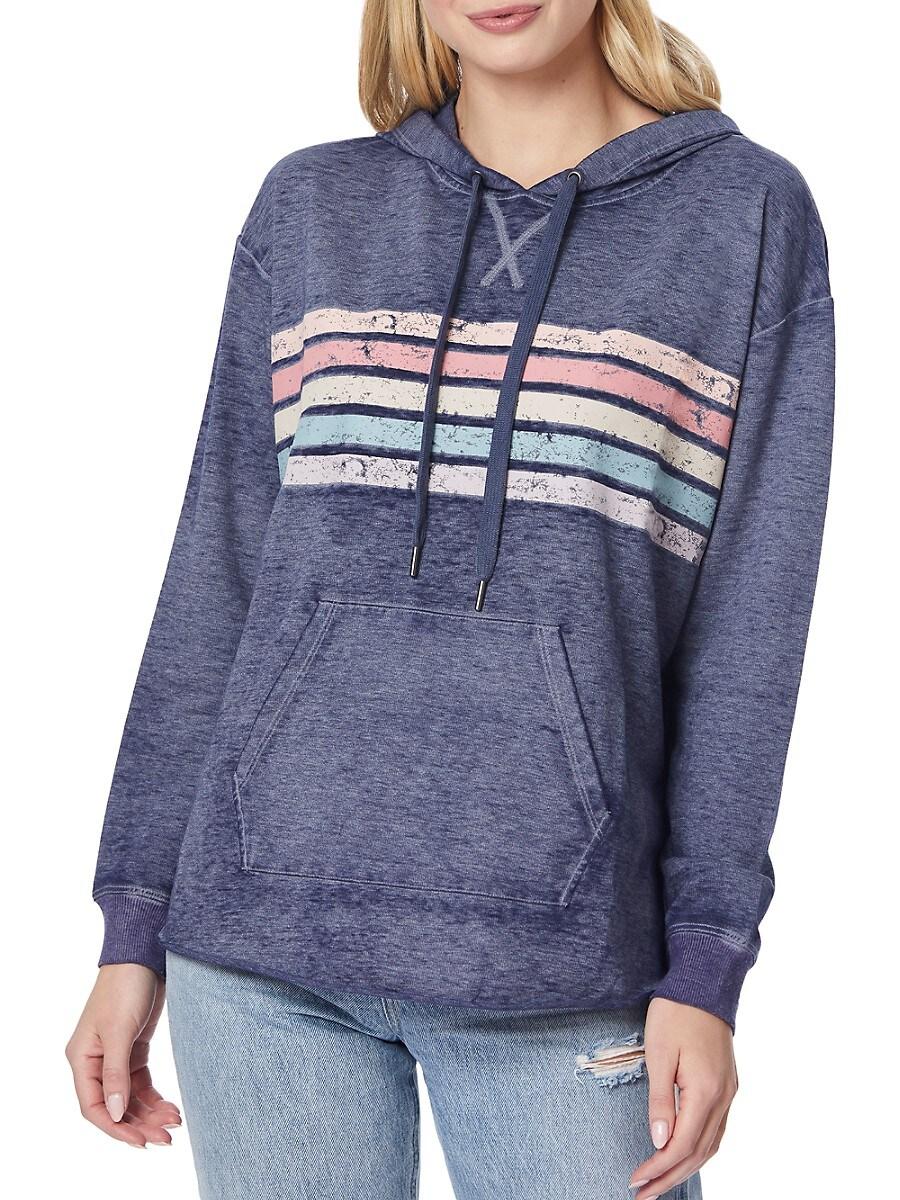 Women's Ava Striped Cotton-Blend Hoodie