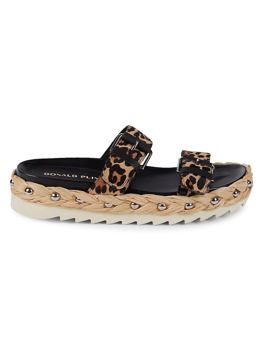 Donald J Pliner Women's Larabee Printed Calf Hair Slide Sandals - Natural - Size 7.5