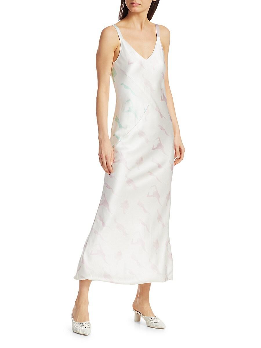 Women's Print Silk Slip Dress