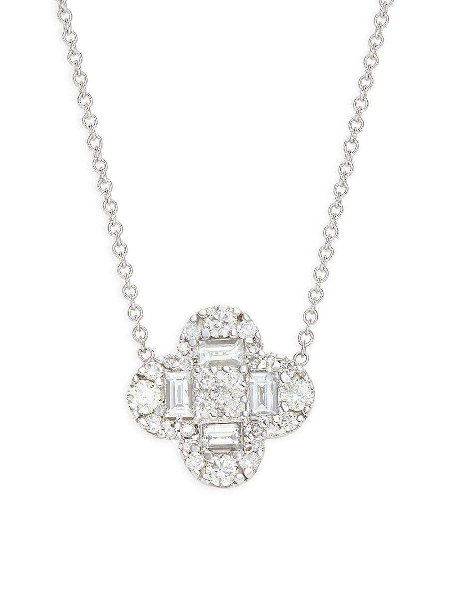 Women's 14K White Gold & 0.70 TCW Diamond Pendant Necklace