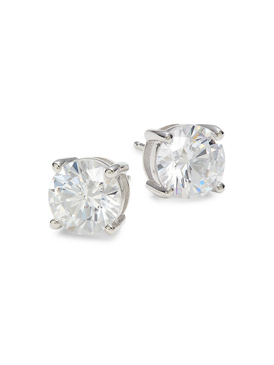 Women's Platinum-Plated Sterling Silver & Simulated Diamond Stud Earrings