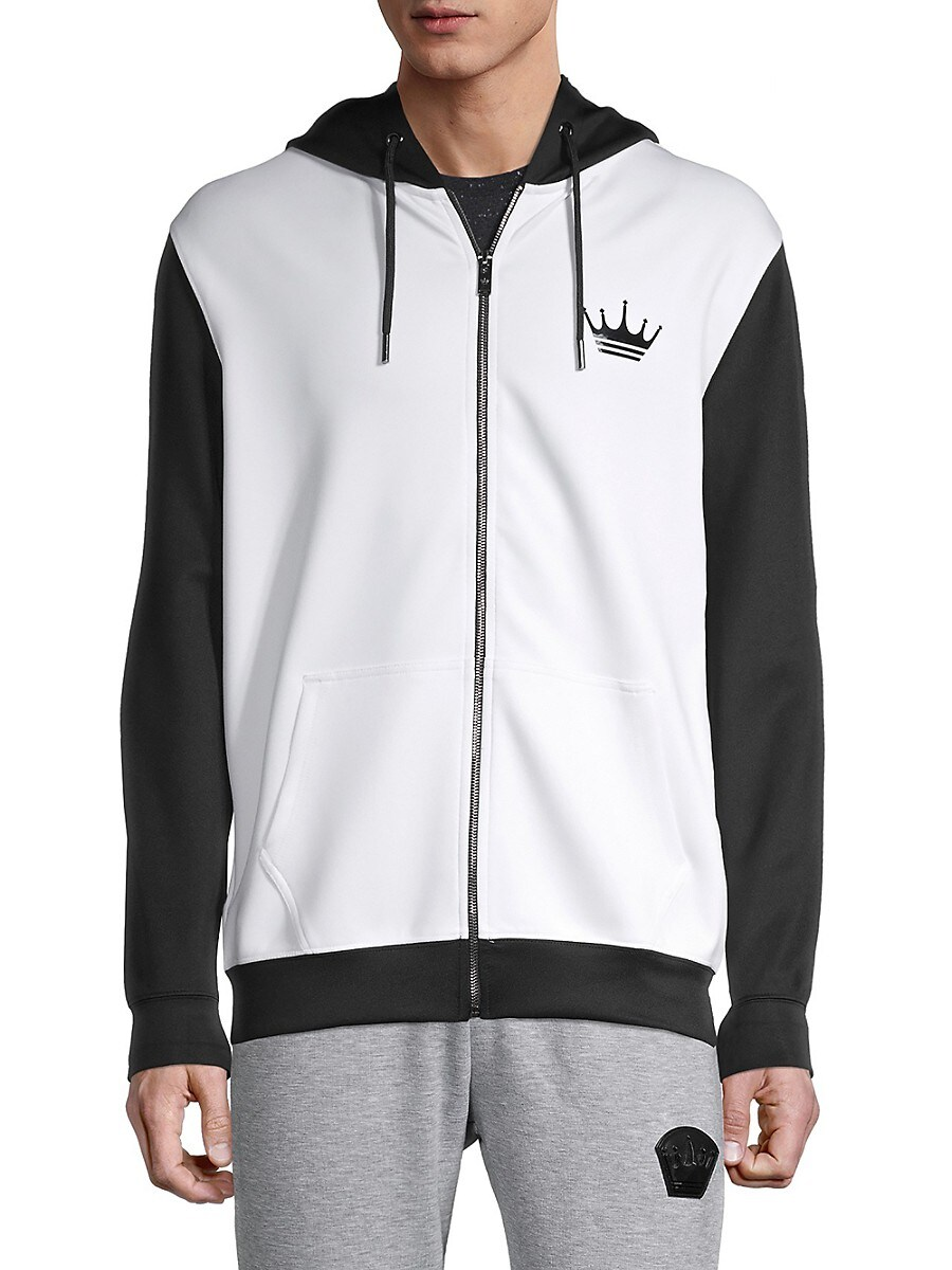 Men's Colorblock Stretch-Cotton Hooded Jacket