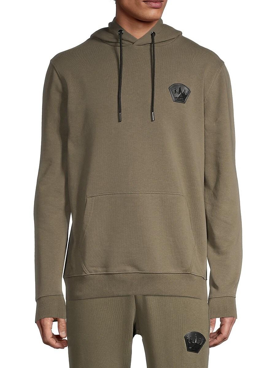 Men's Crown Logo Drawstring Cotton-Blend Hoodie