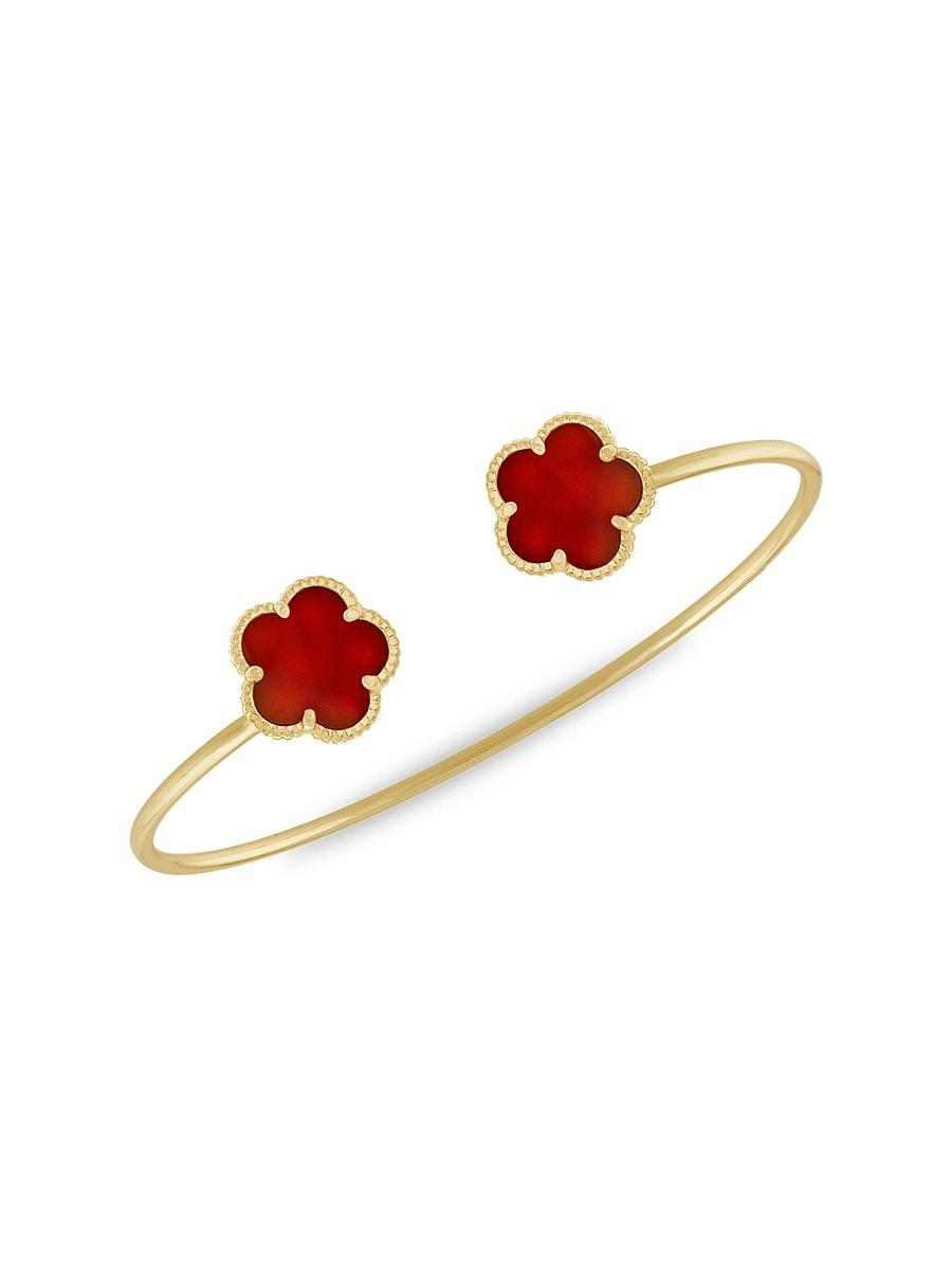 Women's Flower 14K Goldplated & Coral Agate Cuff Bracelet
