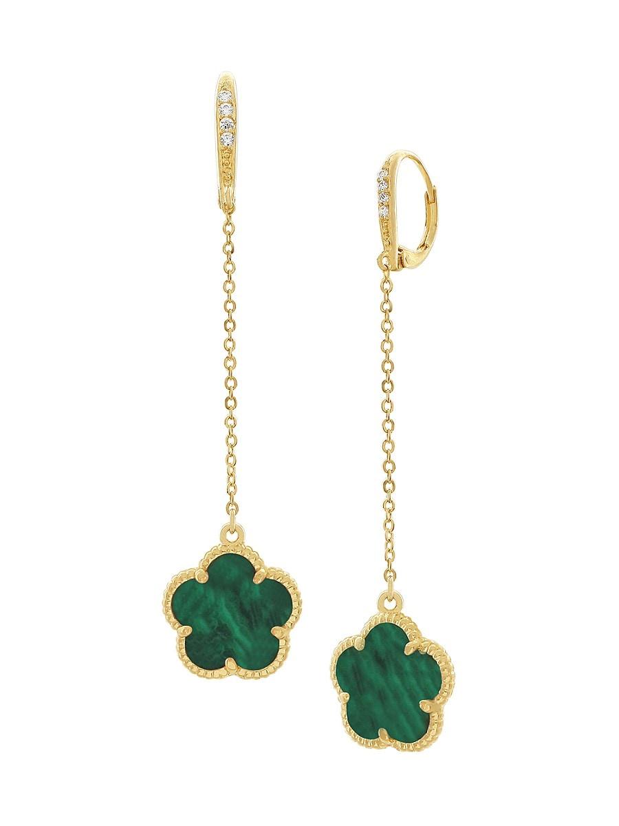 Women's Flower 14K Goldplated & Crystal Drop Earrings