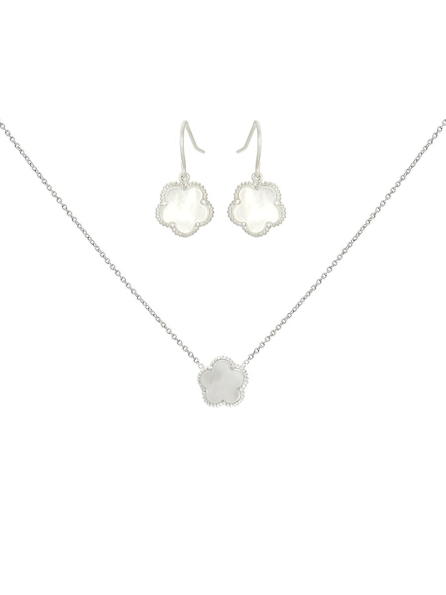 Women's Flower Rhodium-Plated & Mother-Of-Pearl Drop Earrings & Pendant Necklace Set