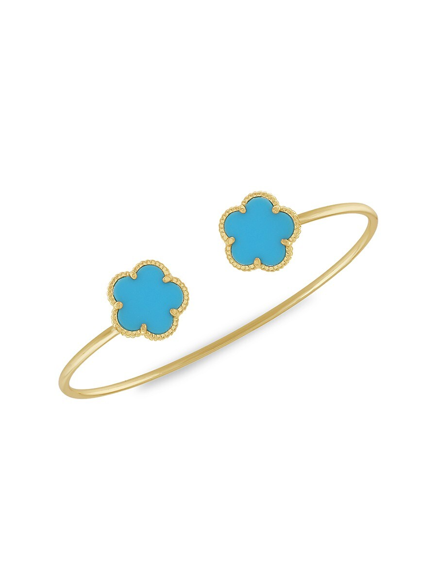 Women's Flower 14K Goldplated Cuff Bracelet