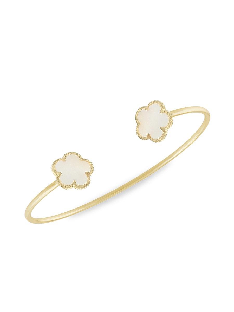 Women's Flower 14K Goldplated & Mother-Of-Pearl Cuff Bracelet