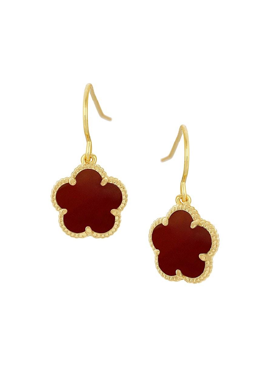 Women's Flower Goldplated & Coral Agate Dangle Earrings