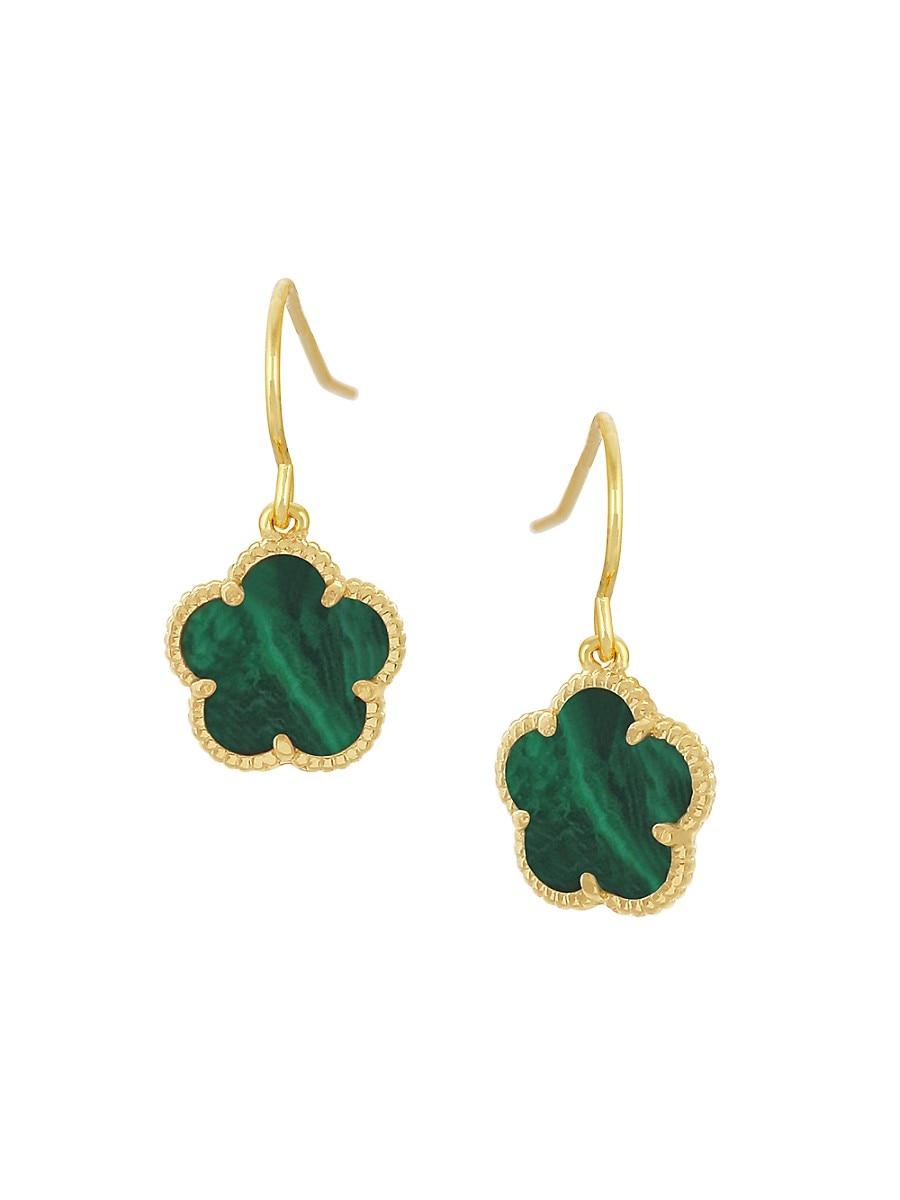 Women's Flower 14K Goldplated & Synthetic Emerald Drop Earrings