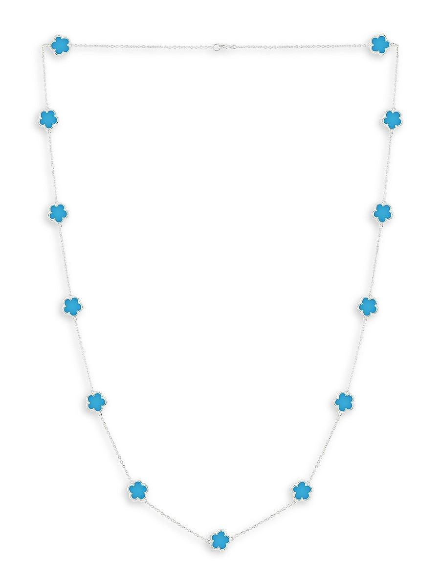 Women's Flower Rhodium-Plated Necklace
