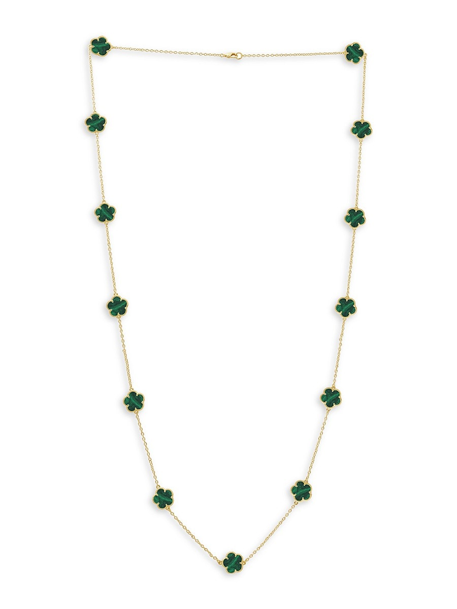 Women's Flower 14K Goldplated & Synthetic Emerald Station Necklace
