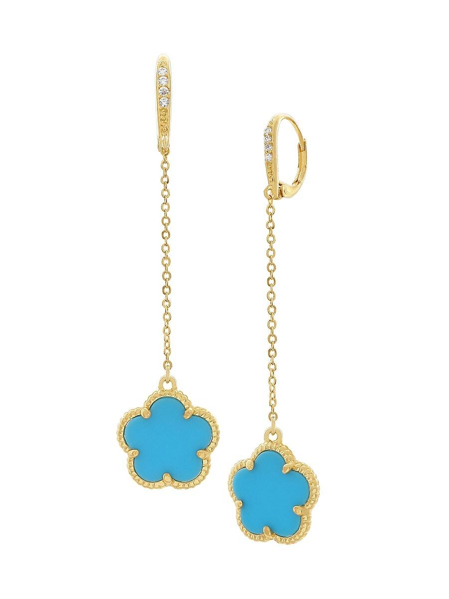 Women's Flower 14K Goldplated & Cubic Zirconia Drop Earrings