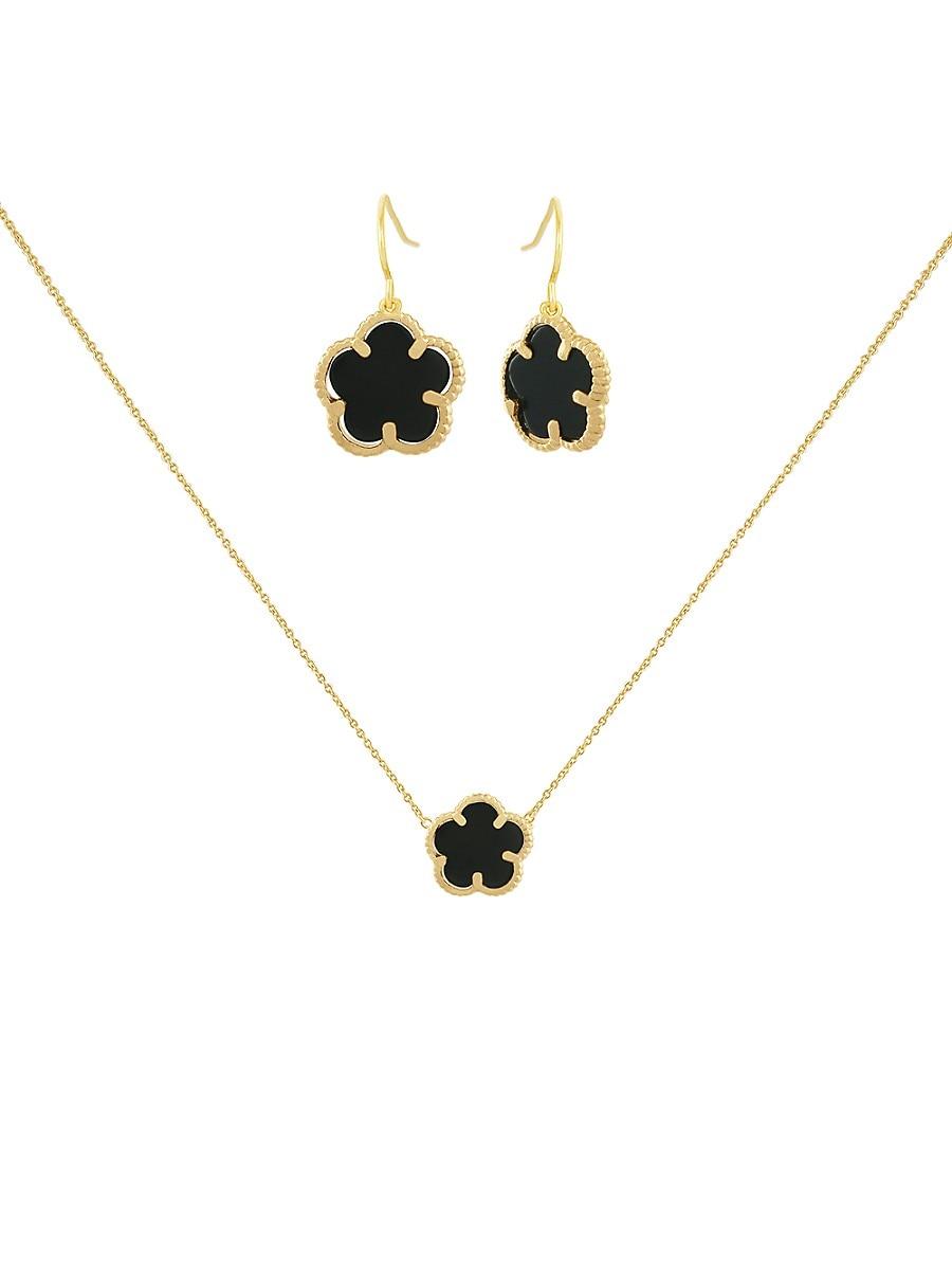 Women's Flower 2-Piece 14K Goldplated & Onyx Drop Earrings & Pendant Necklace Set