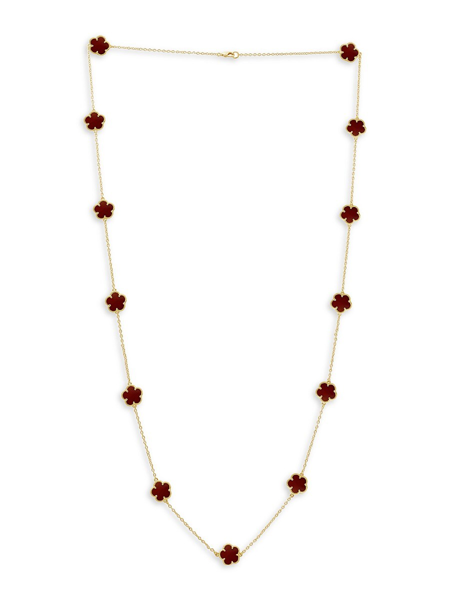 Women's Flower 14K Goldplated & Coral Agate Station Necklace