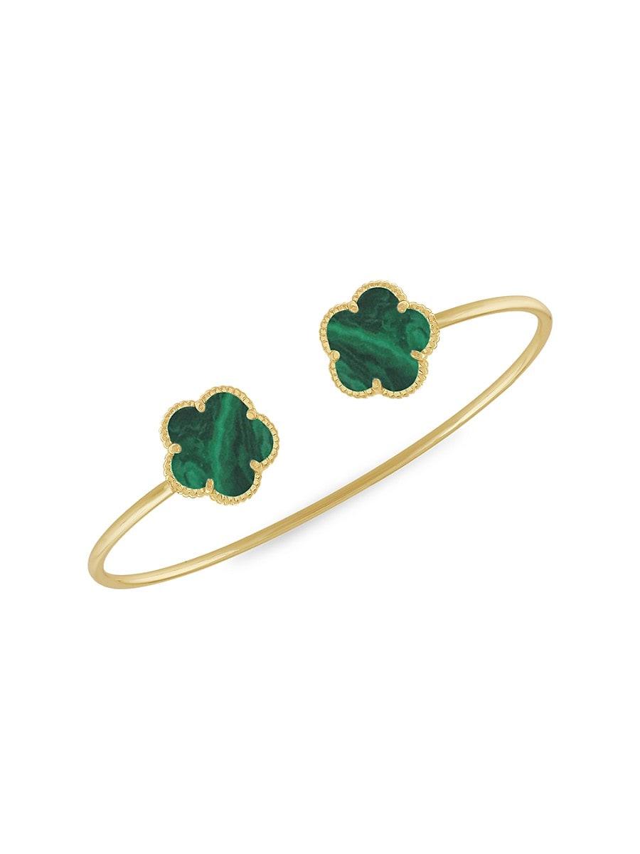 Women's Flower 14K Goldplated Bangle Bracelet