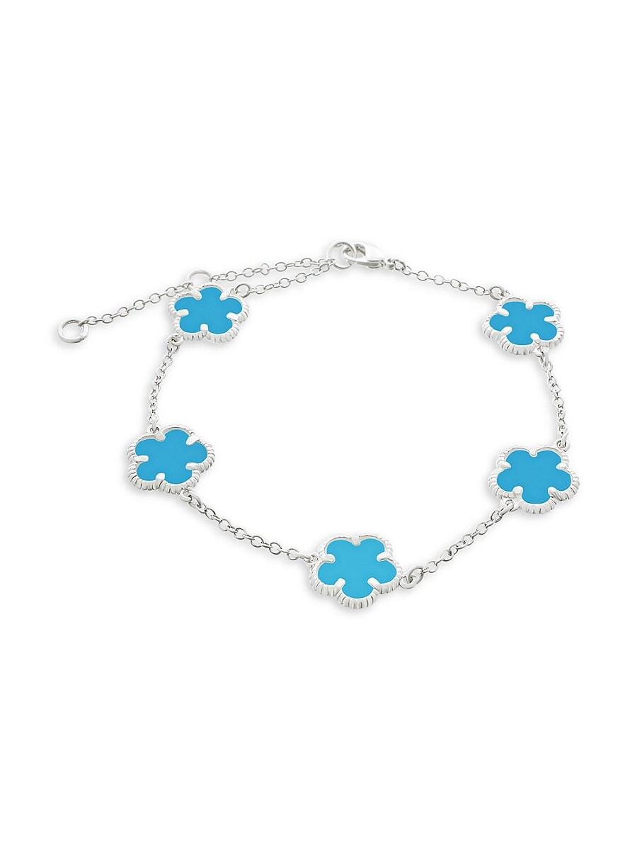 Women's Flower Rhodium-Plated Bracelet