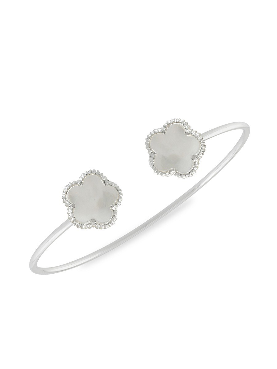 Women's Flower Rhodium-Plated & Mother-Of-Pearl Cuff Bracelet