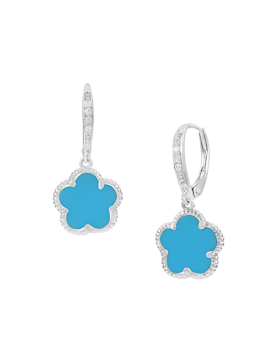Women's Flower Rhodium-Plated & Crystal Earrings