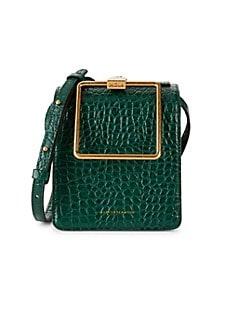 Marge Sherwood Pump Croc-Embossed Leather Top Handle Bag,GREEN CROC