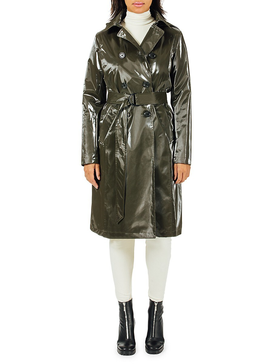 Women's Piccadilly Hooded Faux Leather Trench Coat