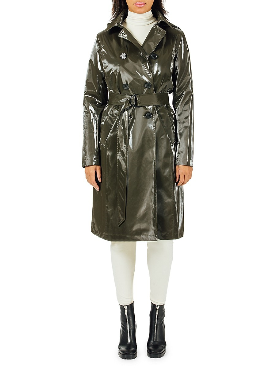 Jane Post Women's Piccadilly Hooded Faux Leather Trench Coat - Black - Size M