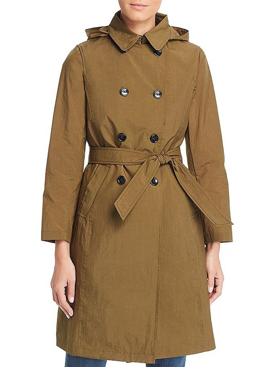 Jane Post Women's Crunch Double-Breasted Trench Coat - Olive - Size L