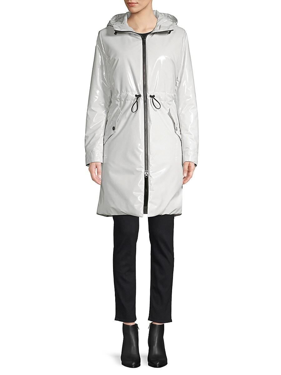 Jane Post Women's Padded Slicker Parka - Light Grey - Size XS