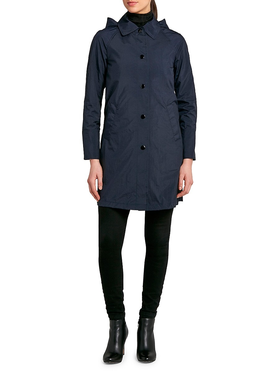 Jane Post Women's Snap-Front Hooded Coat - Navy - Size XS
