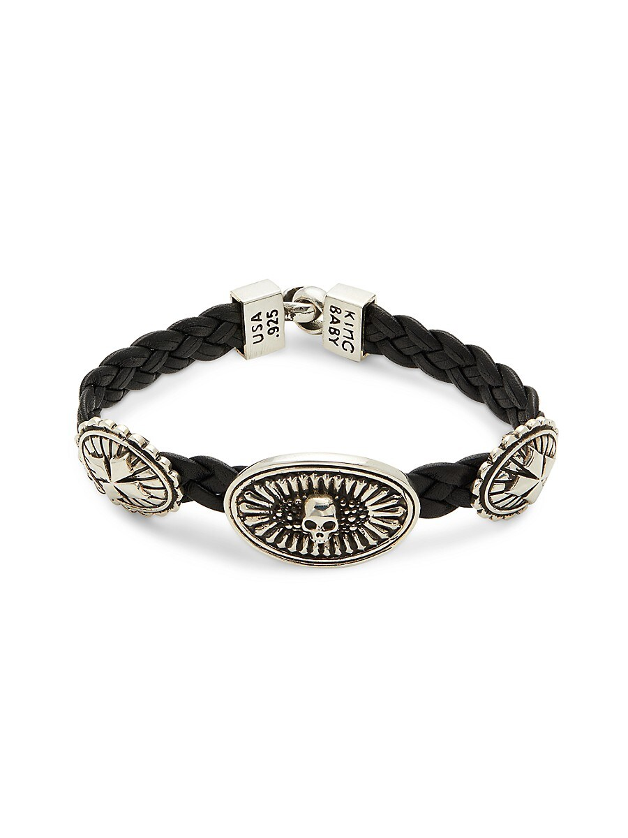Men's Sterling Silver & Leather Braided Bracelet