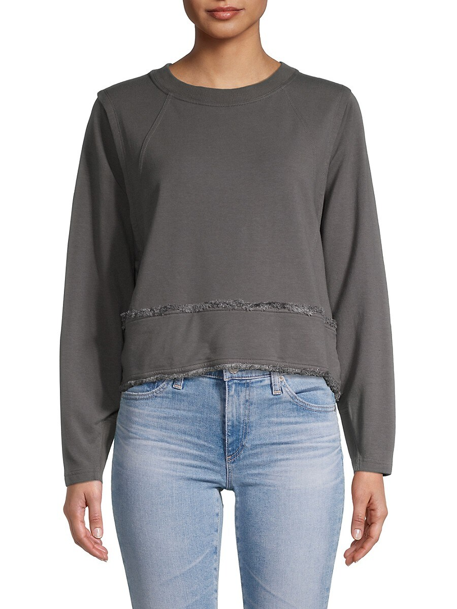 Women's Roundneck Cotton-Blend Sweater