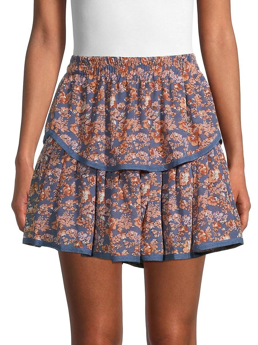 Women's Floral-Print Tiered Mini Skirt