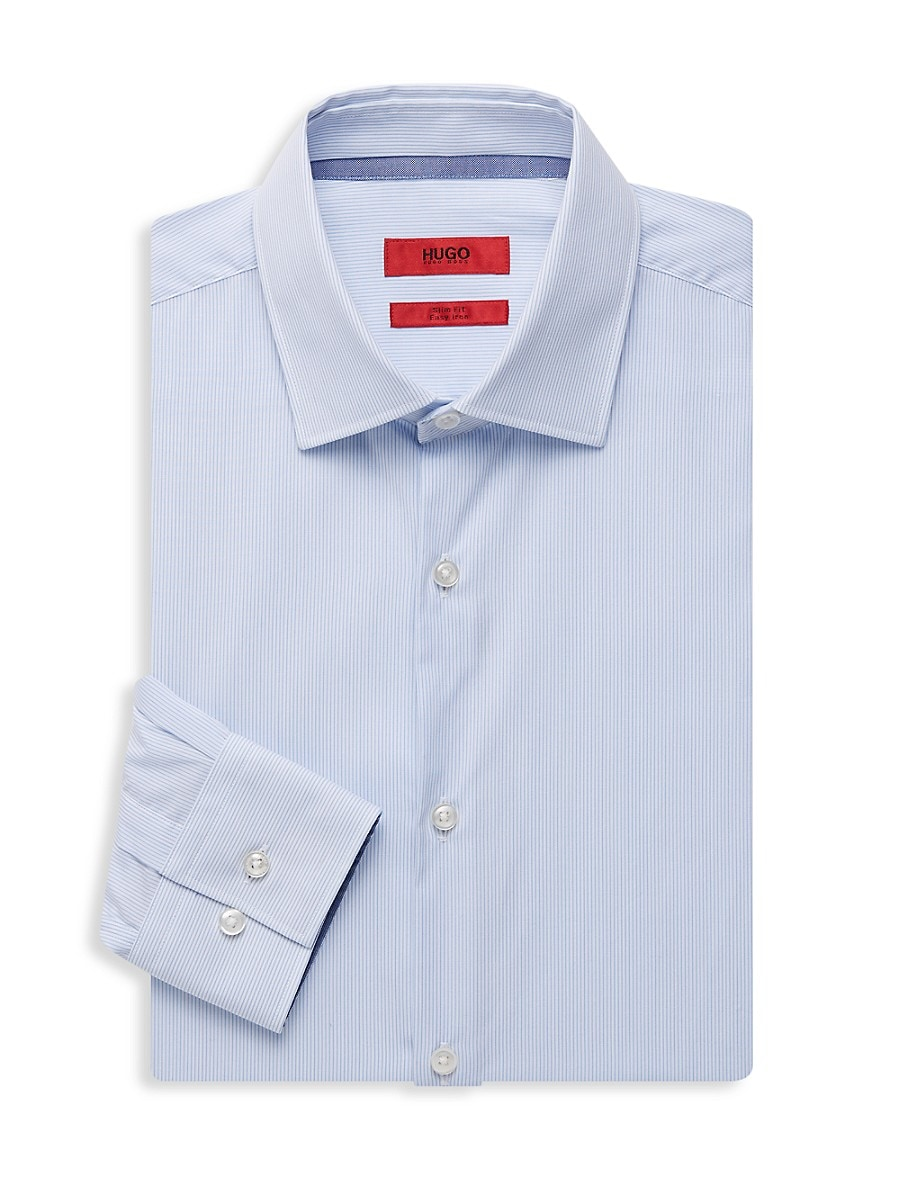 Men's Slim-Fit Striped Dress Shirt