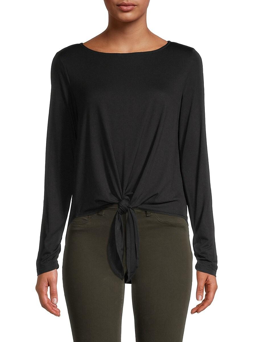 Women's Tie-Front Long-Sleeve Top