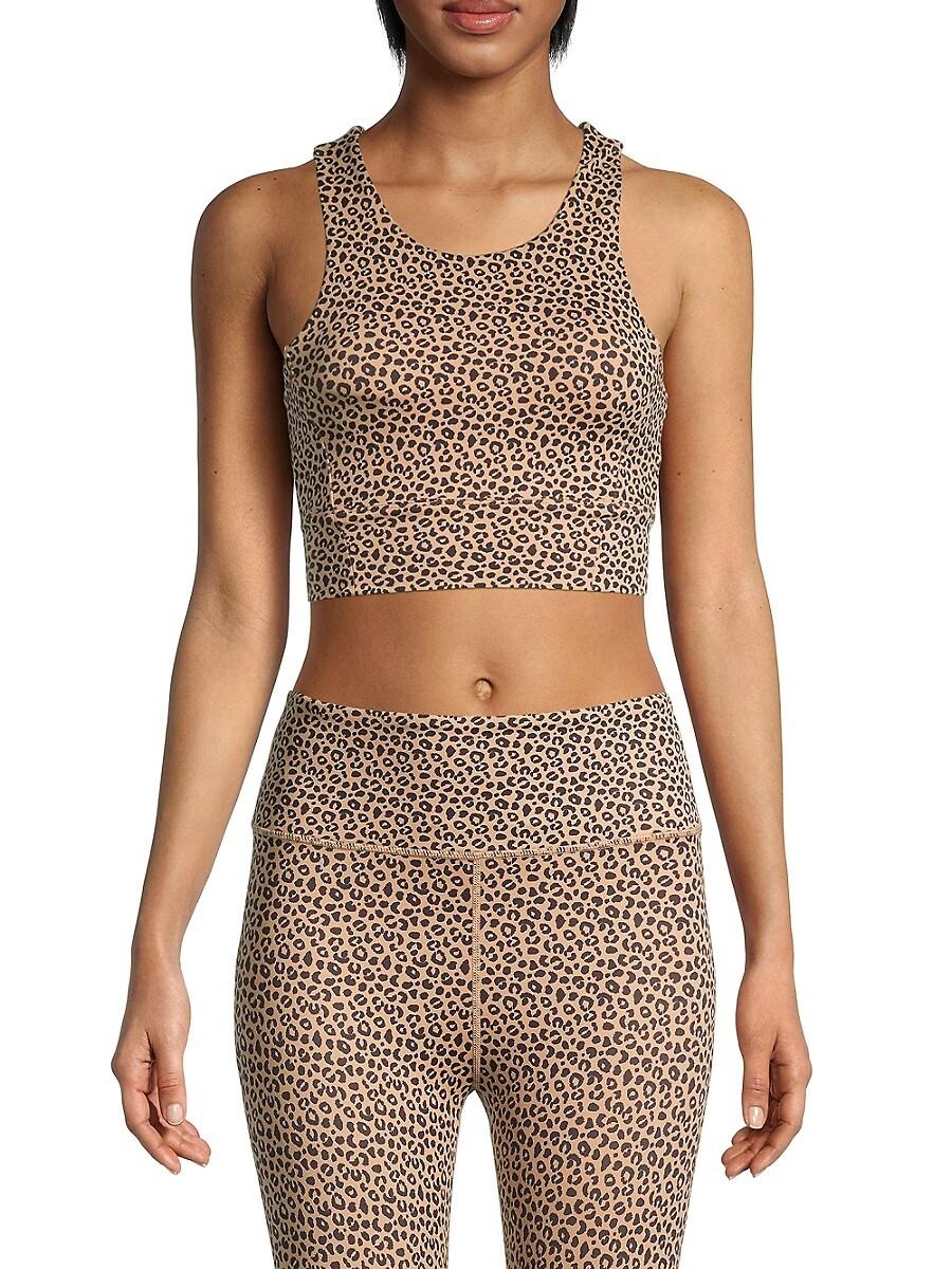 All Fenix Women's Leopard-Print Longline Sports Bra - Sandy Leopard - Size L