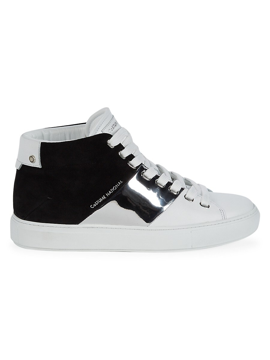 Men's Colorblock Leather & Suede High-Top Sneakers