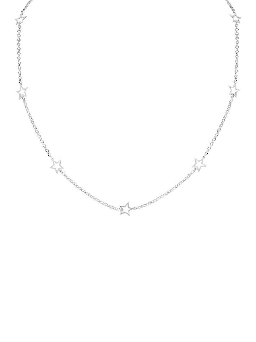 Women's Sterling Silver Star Station Choker Necklace