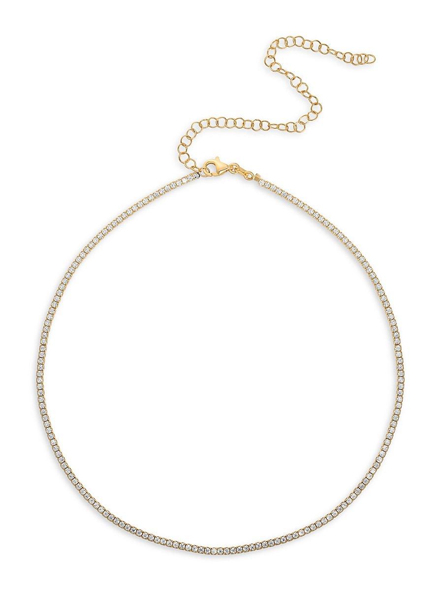 Women's Gold Vermeil & Cubic Zirconia Tennis Choker Necklace