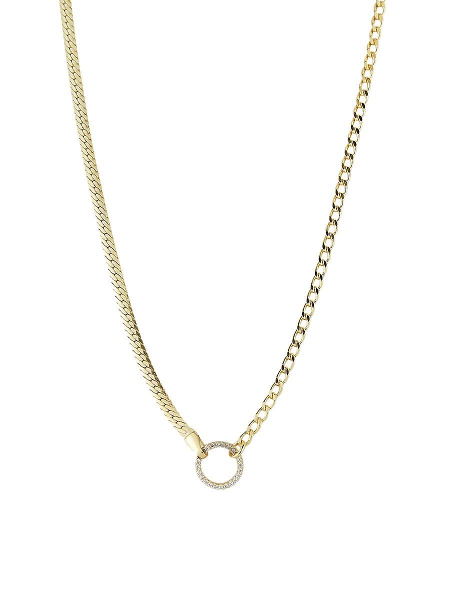 Women's Gold Vermeil & Cubic Zirconia Hoop Pendant Chain Choker Necklace