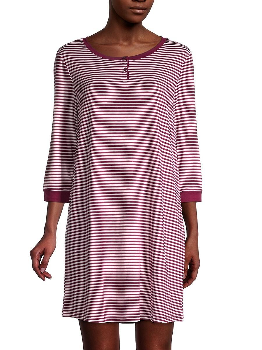 Women's Striped Henley Sleepshirt