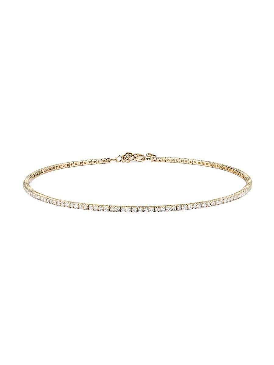 Women's 14K Yellow Gold & Diamond Tennis Choker Necklace