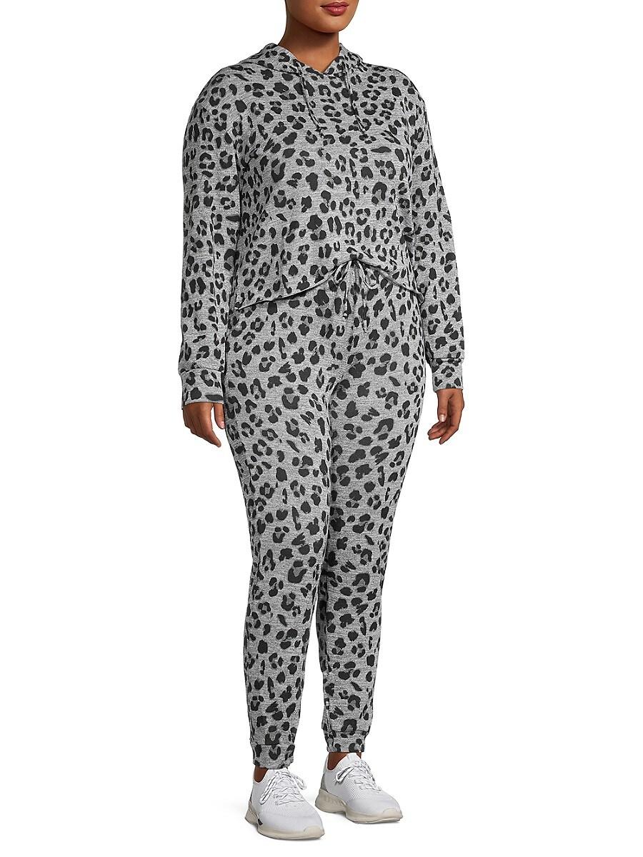 Catherine Malandrino Women's Plus 2-Piece Leopard Print Lounge Set - Black Grey Combo - Size 3X (22-24)